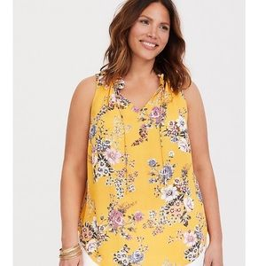 Yellow floral georgette tank